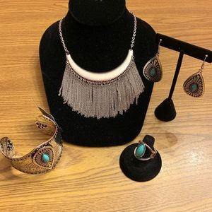 Silver and light teal 4 p. Jewelry set